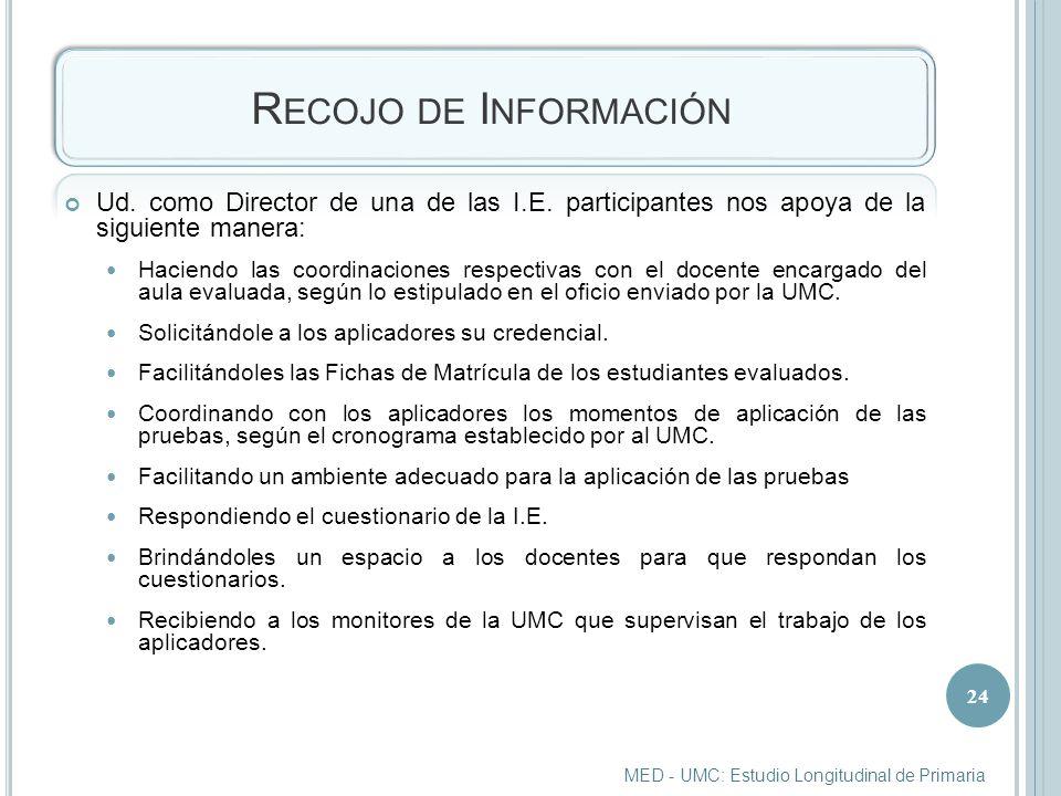 R ECOJO DE I NFORMACIÓN Ud.como Director de una de las I.E.