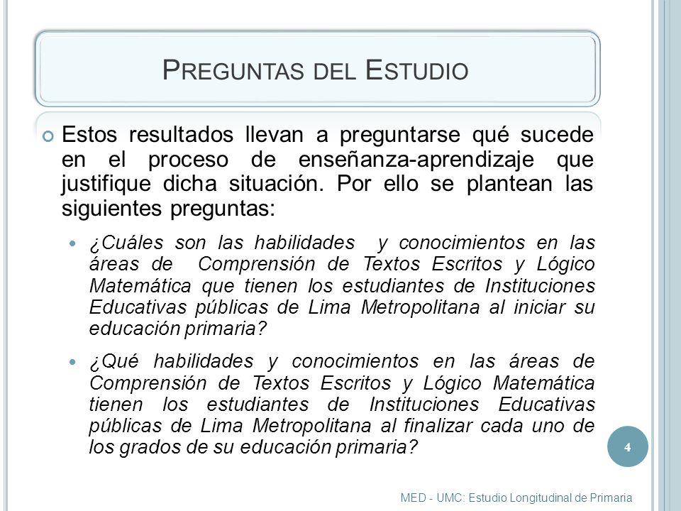 P REGUNTAS DEL E STUDIO Estos resultados llevan a preguntarse qué sucede en el proceso de enseñanza-aprendizaje que justifique dicha situación.