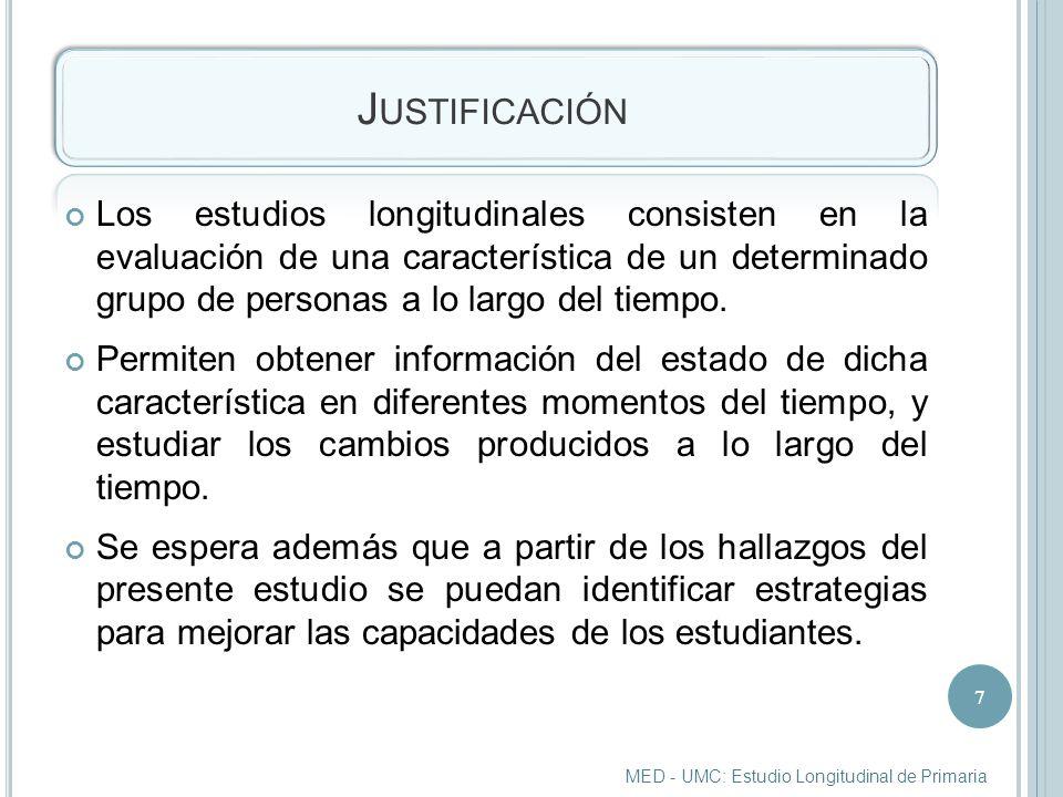 J USTIFICACIÓN Los estudios longitudinales consisten en la evaluación de una característica de un determinado grupo de personas a lo largo del tiempo.