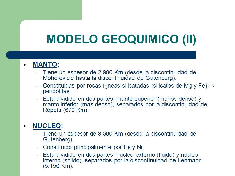 MODELO GEOQUIMICO (II) MANTO: – Tiene un espesor de 2.900 Km (desde la discontinuidad de Mohorovicic hasta la discontinuidad de Gutenberg). – Constitu