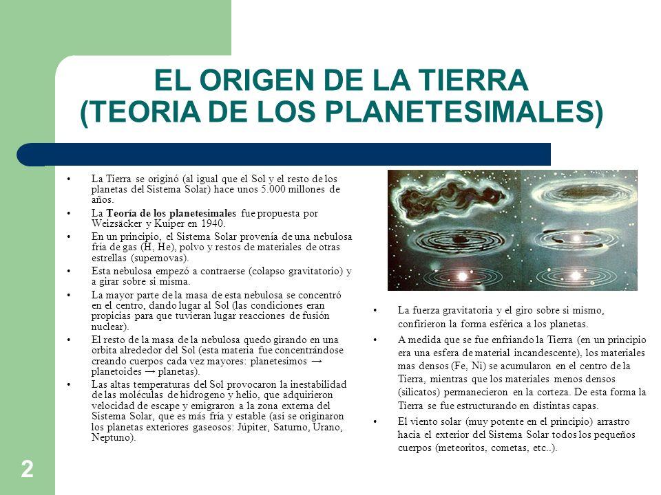2 EL ORIGEN DE LA TIERRA (TEORIA DE LOS PLANETESIMALES) La Tierra se originó (al igual que el Sol y el resto de los planetas del Sistema Solar) hace u