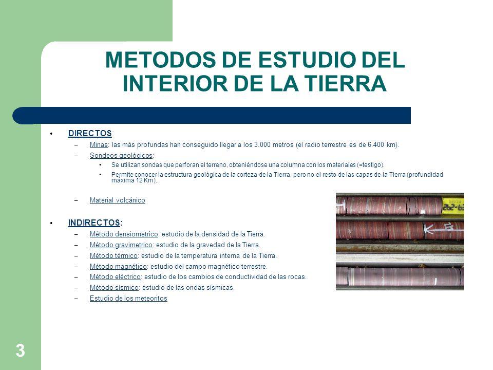 3 METODOS DE ESTUDIO DEL INTERIOR DE LA TIERRA DIRECTOS: – Minas: las más profundas han conseguido llegar a los 3.000 metros (el radio terrestre es de