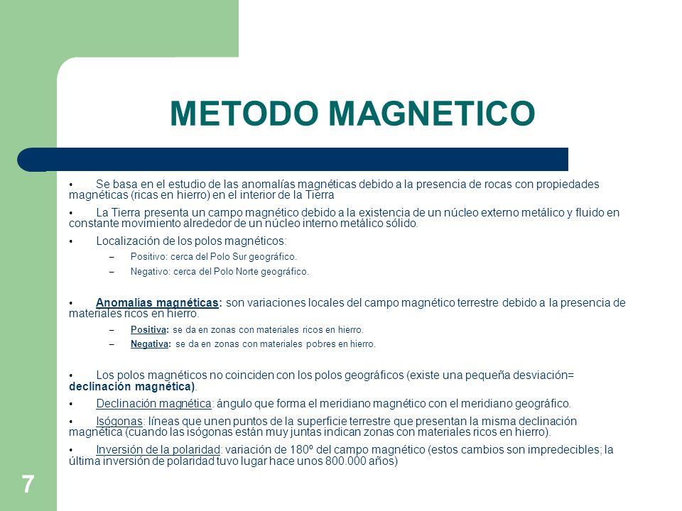 7 METODO MAGNETICO Se basa en el estudio de las anomalías magnéticas debido a la presencia de rocas con propiedades magnéticas (ricas en hierro) en el