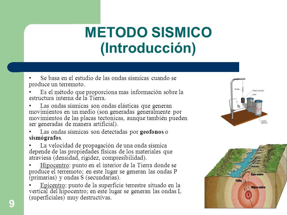 9 METODO SISMICO (Introducción) Se basa en el estudio de las ondas sísmicas cuando se produce un terremoto. Es el método que proporciona mas informaci