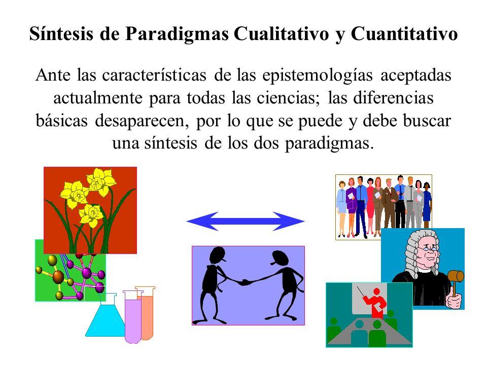 Síntesis de Paradigmas Cualitativo y Cuantitativo Ante las características de las epistemologías aceptadas actualmente para todas las ciencias; las di