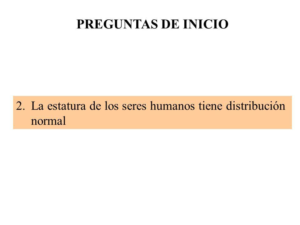 2.La estatura de los seres humanos tiene distribución normal PREGUNTAS DE INICIO