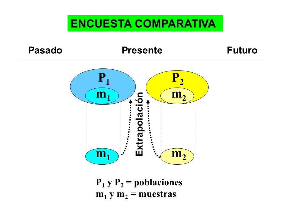 P2P2 m2m2 m2m2 Extrapolación Pasado Presente Futuro P 1 y P 2 = poblaciones m 1 y m 2 = muestras ENCUESTA COMPARATIVA P1P1 m1m1 m1m1