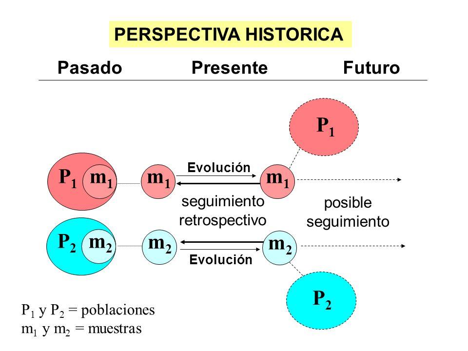Pasado Presente Futuro P 1 y P 2 = poblaciones m 1 y m 2 = muestras PERSPECTIVA HISTORICA m1m1 P1P1 Evolución seguimiento retrospectivo P1P1 m1m1 posi