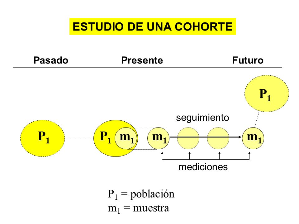 Pasado Presente Futuro P 1 = población m 1 = muestra ESTUDIO DE UNA COHORTE m1m1 P1P1 seguimiento P1P1 P1P1 mediciones m1m1 m1m1