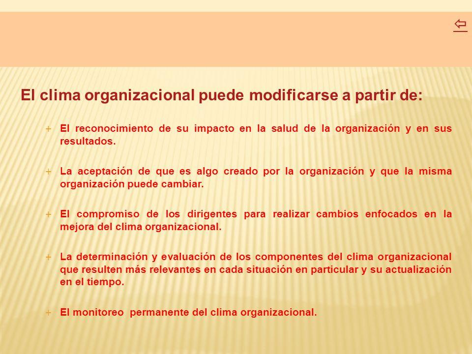 El clima organizacional puede modificarse a partir de: El reconocimiento de su impacto en la salud de la organización y en sus resultados. La aceptaci