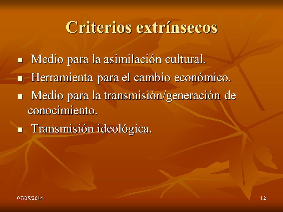 07/05/201412 Criterios extrínsecos Medio para la asimilación cultural. Medio para la asimilación cultural. Herramienta para el cambio económico. Herra