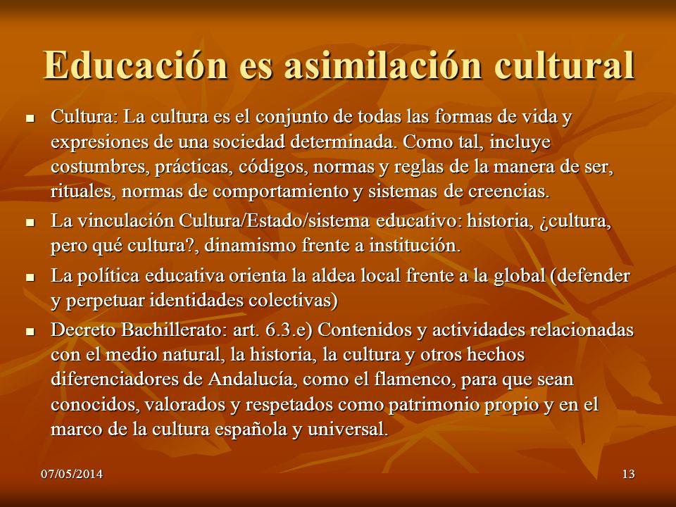 07/05/201413 Educación es asimilación cultural Cultura: La cultura es el conjunto de todas las formas de vida y expresiones de una sociedad determinad