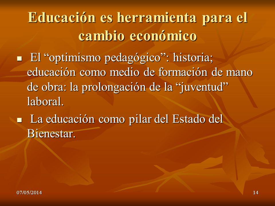 07/05/201414 Educación es herramienta para el cambio económico El optimismo pedagógico: historia; educación como medio de formación de mano de obra: l