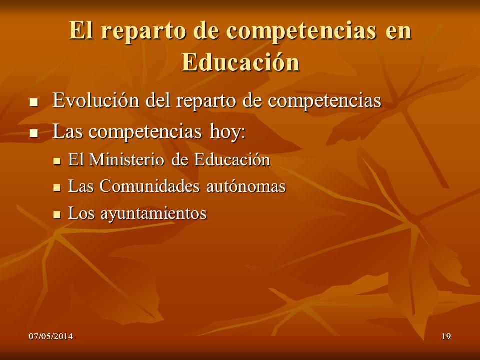 07/05/201419 El reparto de competencias en Educación Evolución del reparto de competencias Evolución del reparto de competencias Las competencias hoy: