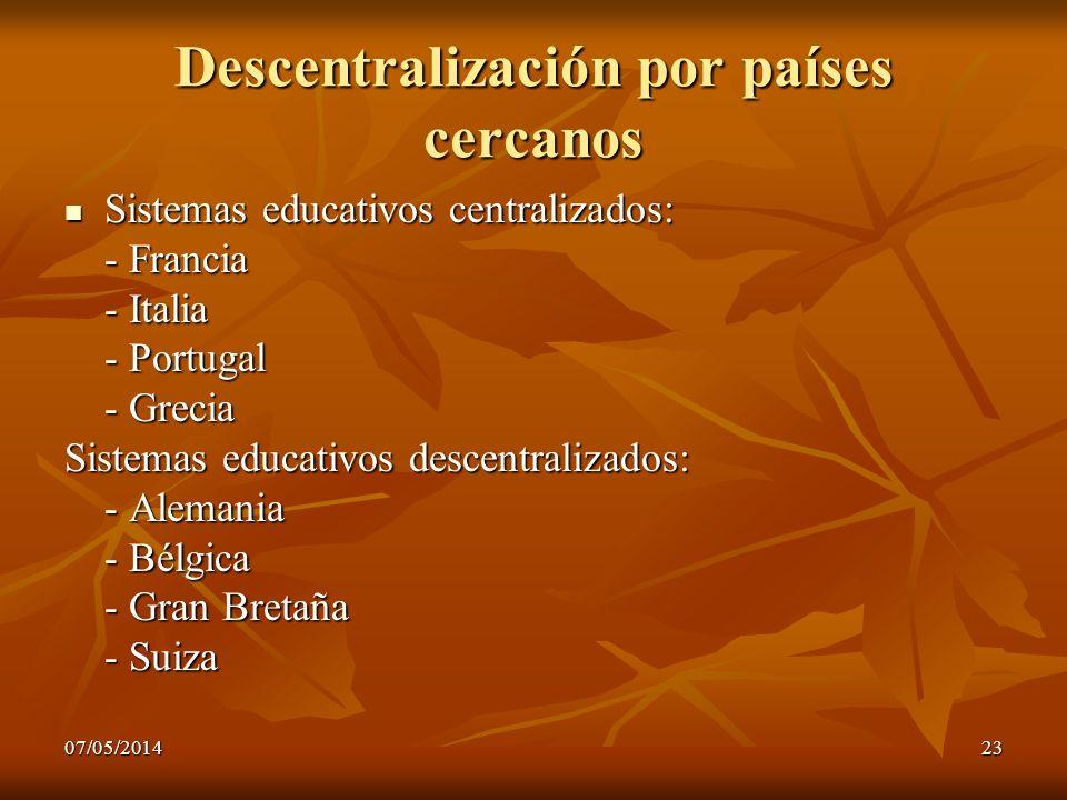 07/05/201423 Descentralización por países cercanos Sistemas educativos centralizados: Sistemas educativos centralizados: - Francia - Italia - Portugal