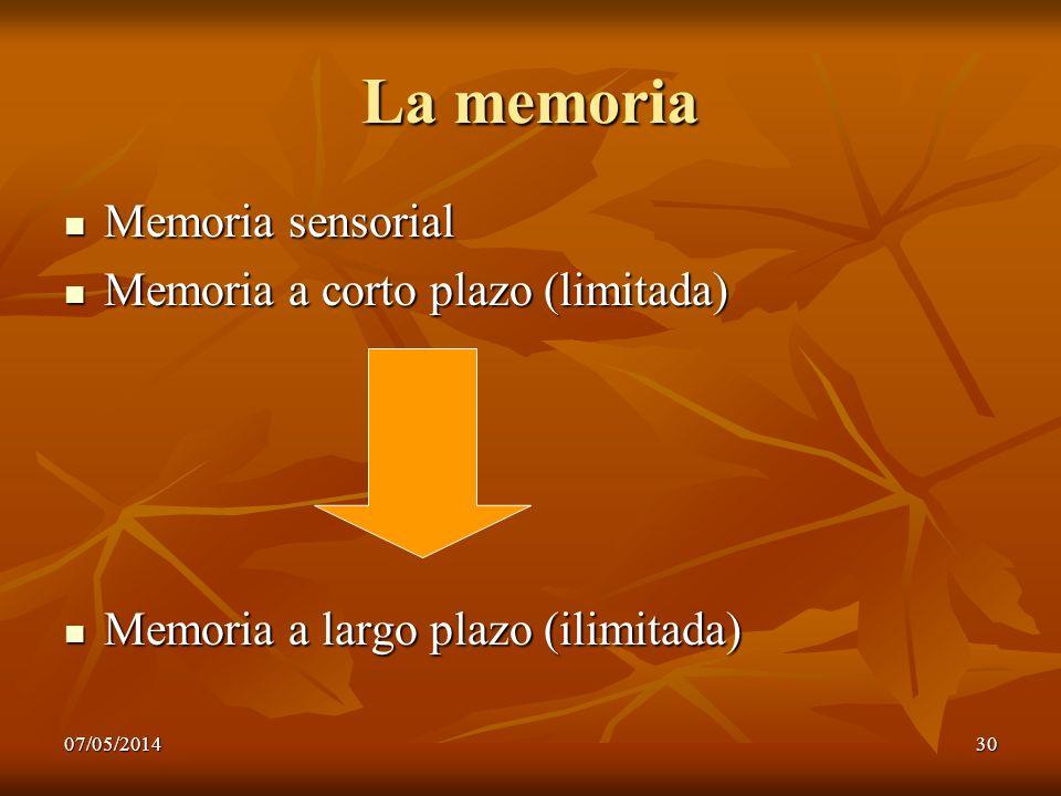 07/05/201430 La memoria Memoria sensorial Memoria sensorial Memoria a corto plazo (limitada) Memoria a corto plazo (limitada) Memoria a largo plazo (i