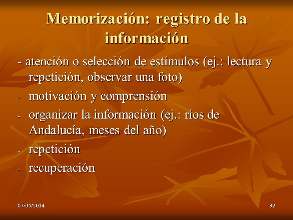 07/05/201432 Memorización: registro de la información - atención o selección de estímulos (ej.: lectura y repetición, observar una foto) - motivación