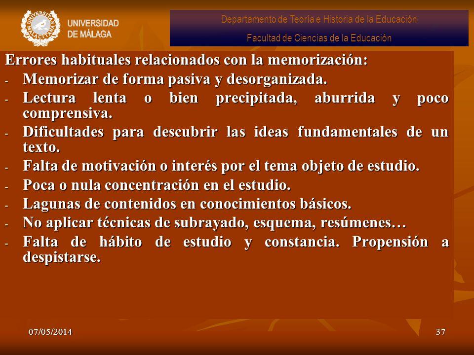 07/05/201437 Errores habituales relacionados con la memorización: - Memorizar de forma pasiva y desorganizada. - Lectura lenta o bien precipitada, abu