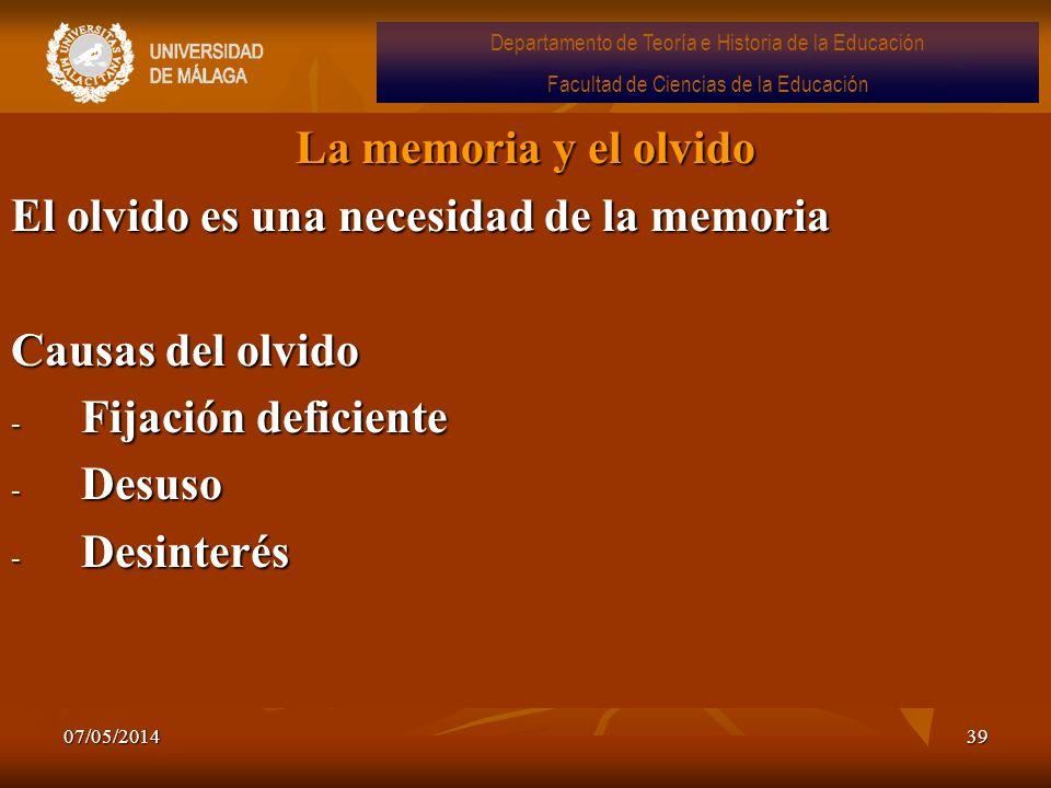 07/05/201439 La memoria y el olvido El olvido es una necesidad de la memoria Causas del olvido - Fijación deficiente - Desuso - Desinterés Departament