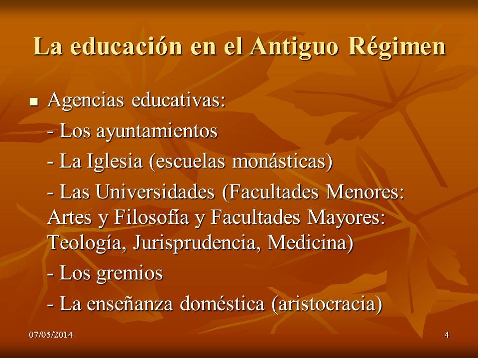 07/05/20144 La educación en el Antiguo Régimen Agencias educativas: Agencias educativas: - Los ayuntamientos - La Iglesia (escuelas monásticas) - Las