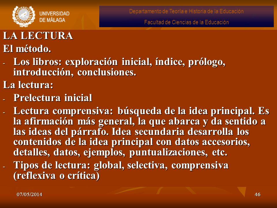 07/05/201446 LA LECTURA El método. - Los libros: exploración inicial, índice, prólogo, introducción, conclusiones. La lectura: - Prelectura inicial -