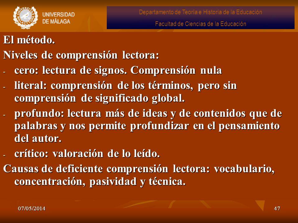 07/05/201447 El método. Niveles de comprensión lectora: - cero: lectura de signos. Comprensión nula - literal: comprensión de los términos, pero sin c