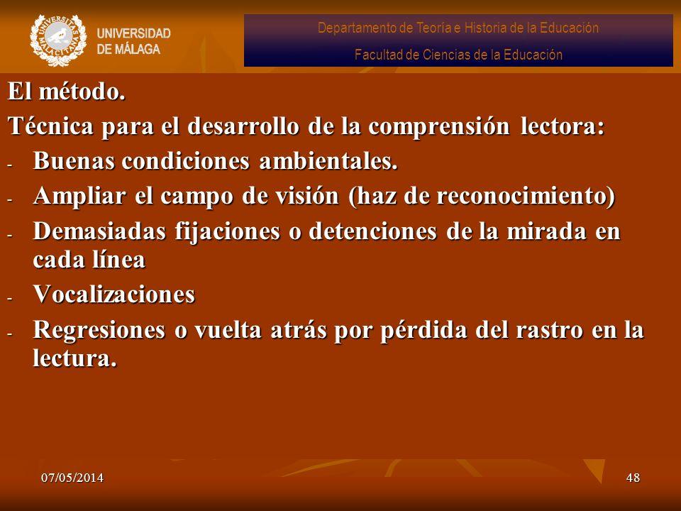 07/05/201448 El método. Técnica para el desarrollo de la comprensión lectora: - Buenas condiciones ambientales. - Ampliar el campo de visión (haz de r