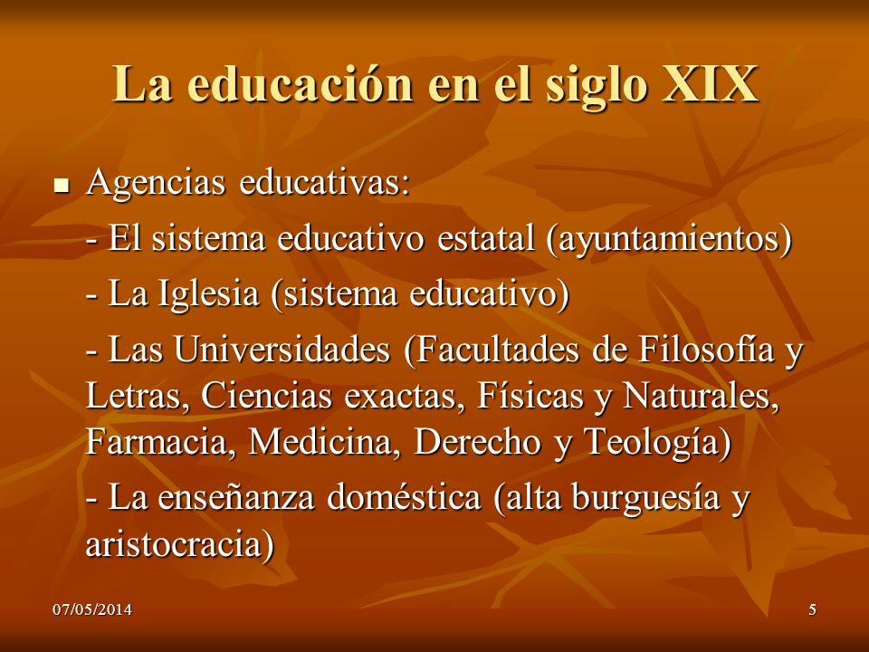 07/05/20145 La educación en el siglo XIX Agencias educativas: Agencias educativas: - El sistema educativo estatal (ayuntamientos) - La Iglesia (sistem