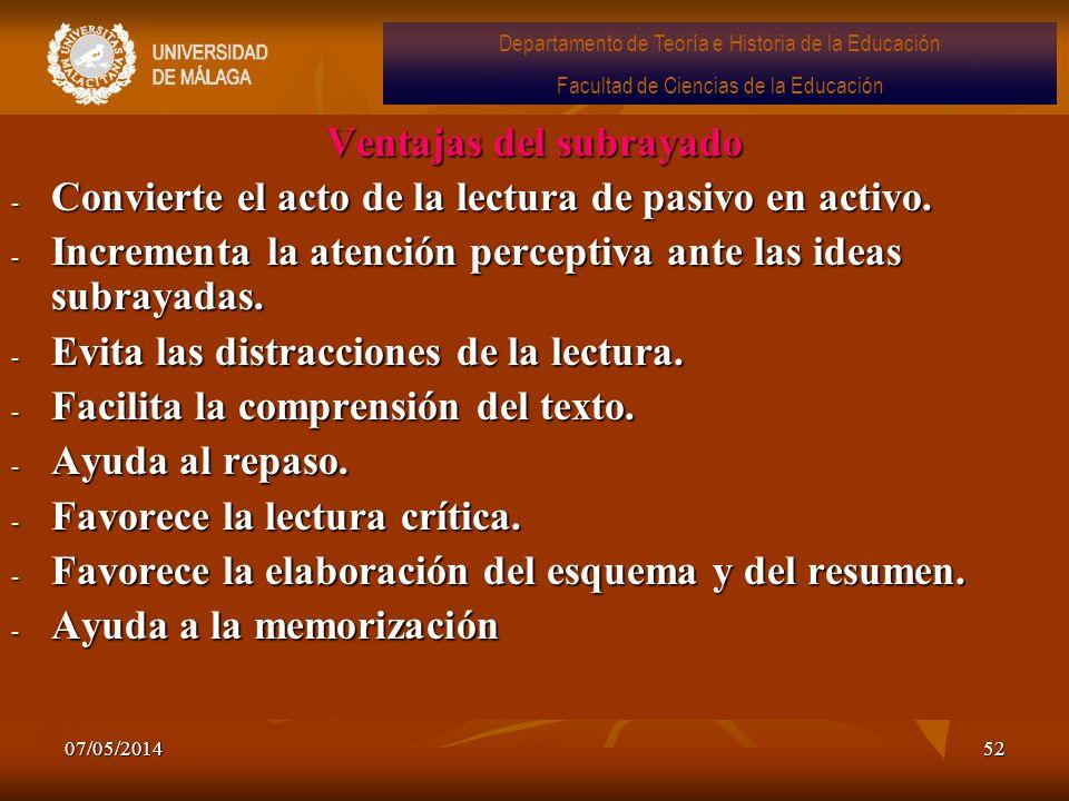 07/05/201452 Ventajas del subrayado - Convierte el acto de la lectura de pasivo en activo. - Incrementa la atención perceptiva ante las ideas subrayad