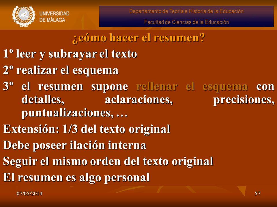07/05/201457 ¿cómo hacer el resumen? 1º leer y subrayar el texto 2º realizar el esquema 3º el resumen supone rellenar el esquema con detalles, aclarac