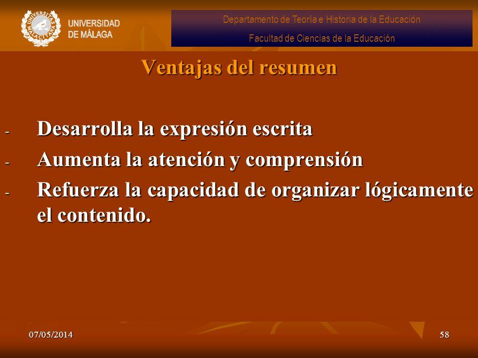 07/05/201458 Ventajas del resumen - Desarrolla la expresión escrita - Aumenta la atención y comprensión - Refuerza la capacidad de organizar lógicamen