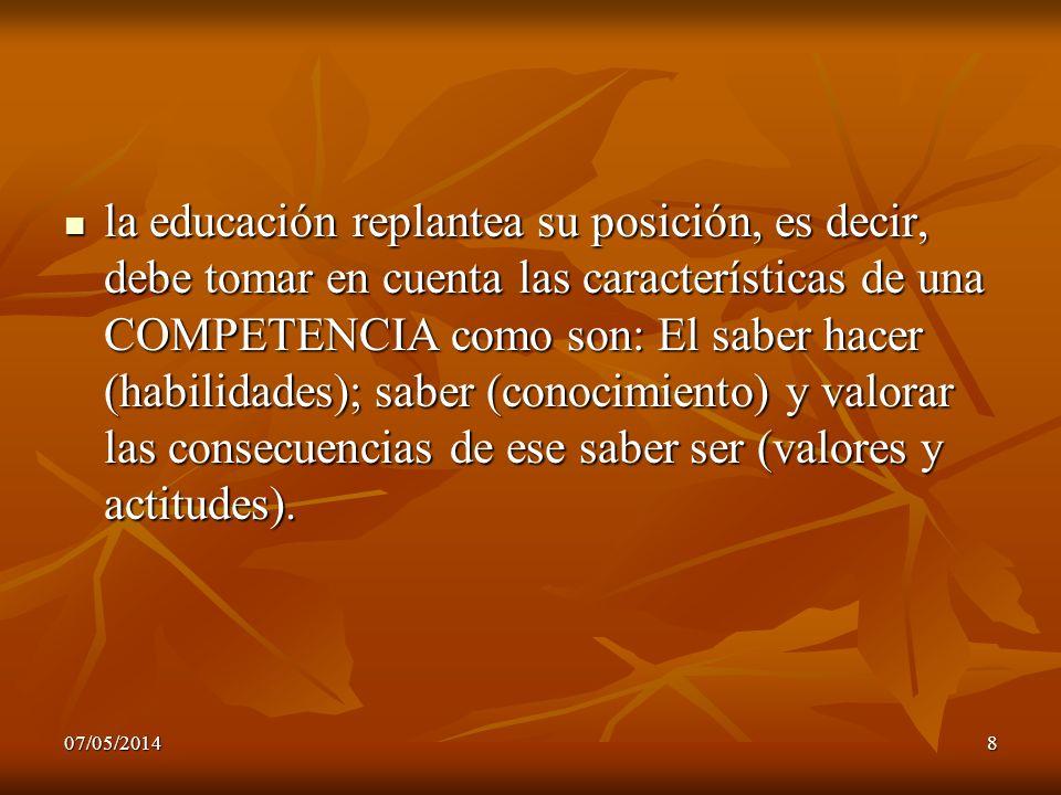 07/05/20148 la educación replantea su posición, es decir, debe tomar en cuenta las características de una COMPETENCIA como son: El saber hacer (habili