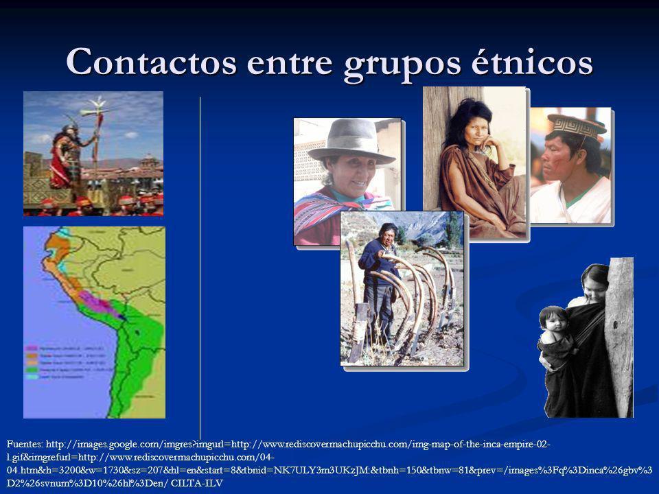 Contactos entre grupos étnicos Fuentes: http://images.google.com/imgres?imgurl=http://www.rediscovermachupicchu.com/img-map-of-the-inca-empire-02- l.g