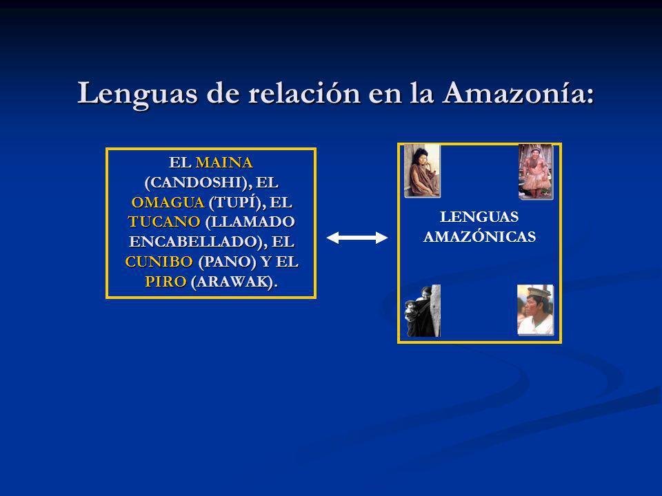 Lenguas de relación en la Amazonía: EL MAINA (CANDOSHI), EL OMAGUA (TUPÍ), EL TUCANO (LLAMADO ENCABELLADO), EL CUNIBO (PANO) Y EL PIRO (ARAWAK). LENGU