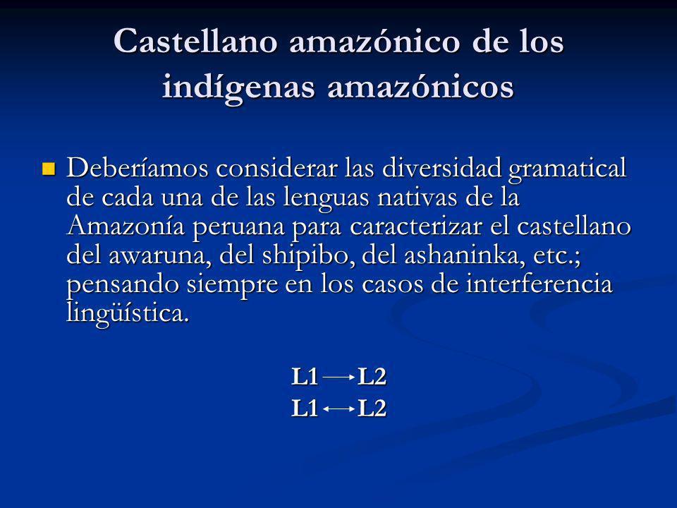 Castellano amazónico de los indígenas amazónicos Deberíamos considerar las diversidad gramatical de cada una de las lenguas nativas de la Amazonía per