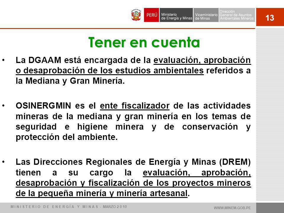 13 La DGAAM está encargada de la evaluación, aprobación o desaprobación de los estudios ambientales referidos a la Mediana y Gran Minería. OSINERGMIN