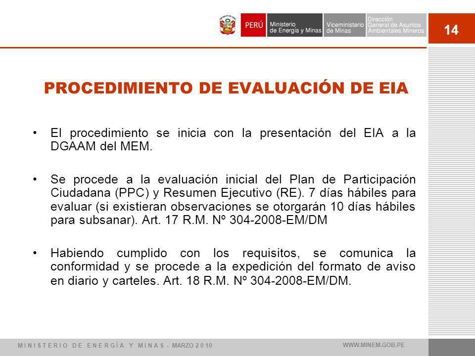 14 PROCEDIMIENTO DE EVALUACIÓN DE EIA El procedimiento se inicia con la presentación del EIA a la DGAAM del MEM. Se procede a la evaluación inicial de
