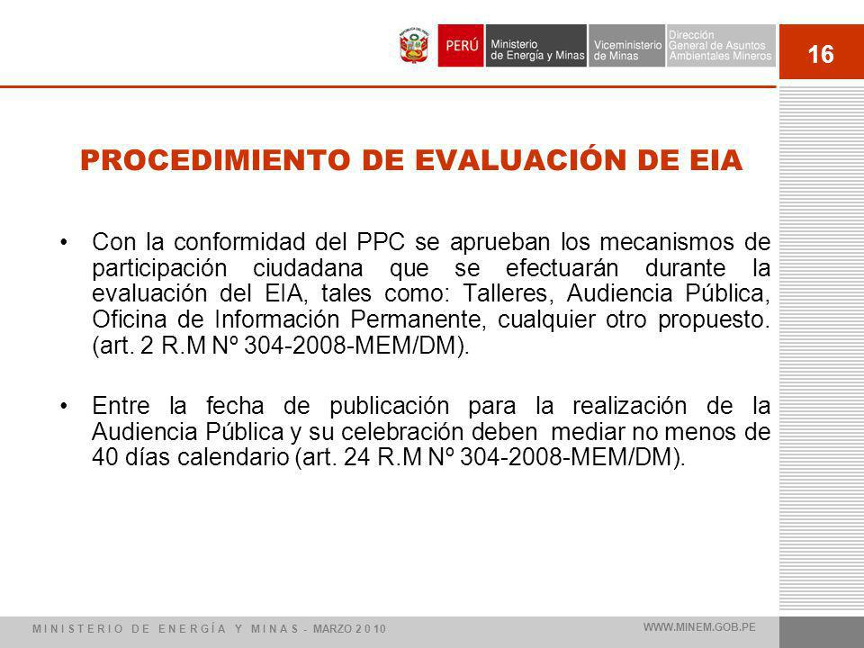 16 PROCEDIMIENTO DE EVALUACIÓN DE EIA Con la conformidad del PPC se aprueban los mecanismos de participación ciudadana que se efectuarán durante la evaluación del EIA, tales como: Talleres, Audiencia Pública, Oficina de Información Permanente, cualquier otro propuesto.
