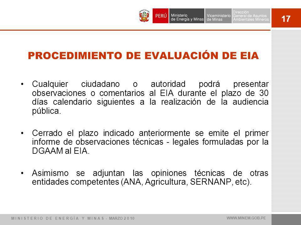 17 PROCEDIMIENTO DE EVALUACIÓN DE EIA Cualquier ciudadano o autoridad podrá presentar observaciones o comentarios al EIA durante el plazo de 30 días calendario siguientes a la realización de la audiencia pública.