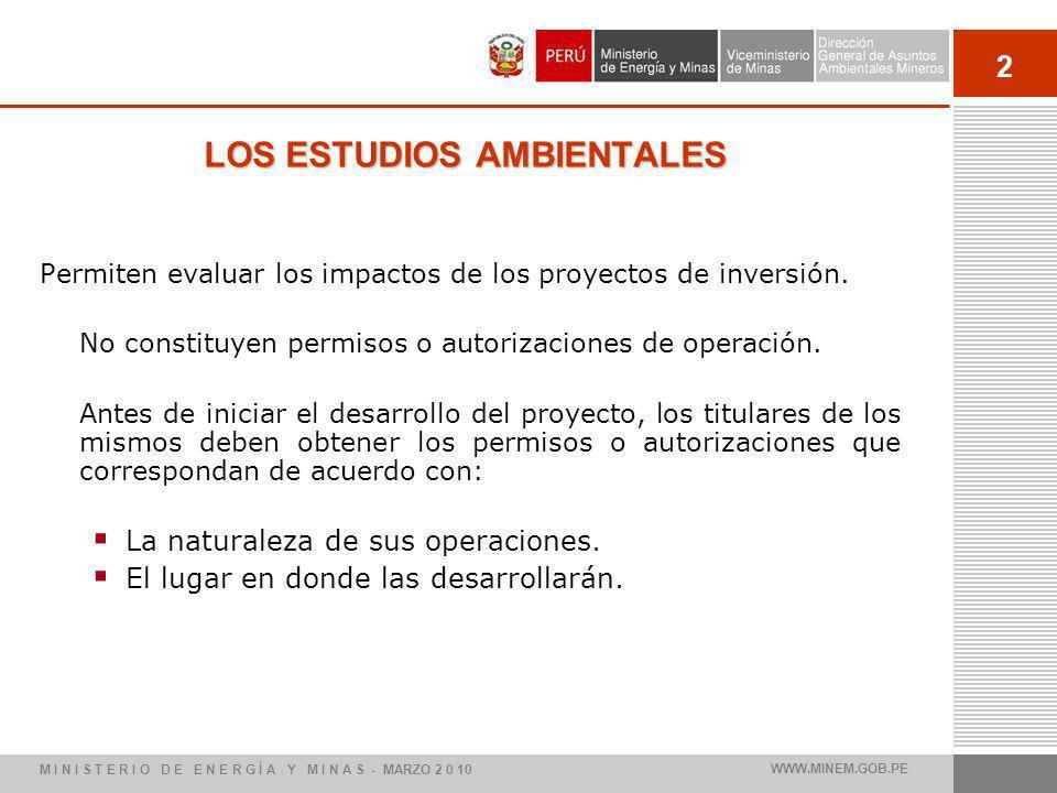 2 LOS ESTUDIOS AMBIENTALES Permiten evaluar los impactos de los proyectos de inversión. No constituyen permisos o autorizaciones de operación. Antes d