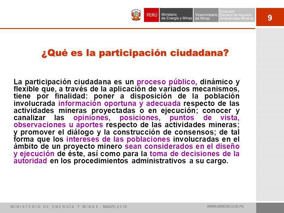 9 ¿Qué es la participación ciudadana? La participación ciudadana es un proceso público, dinámico y flexible que, a través de la aplicación de variados