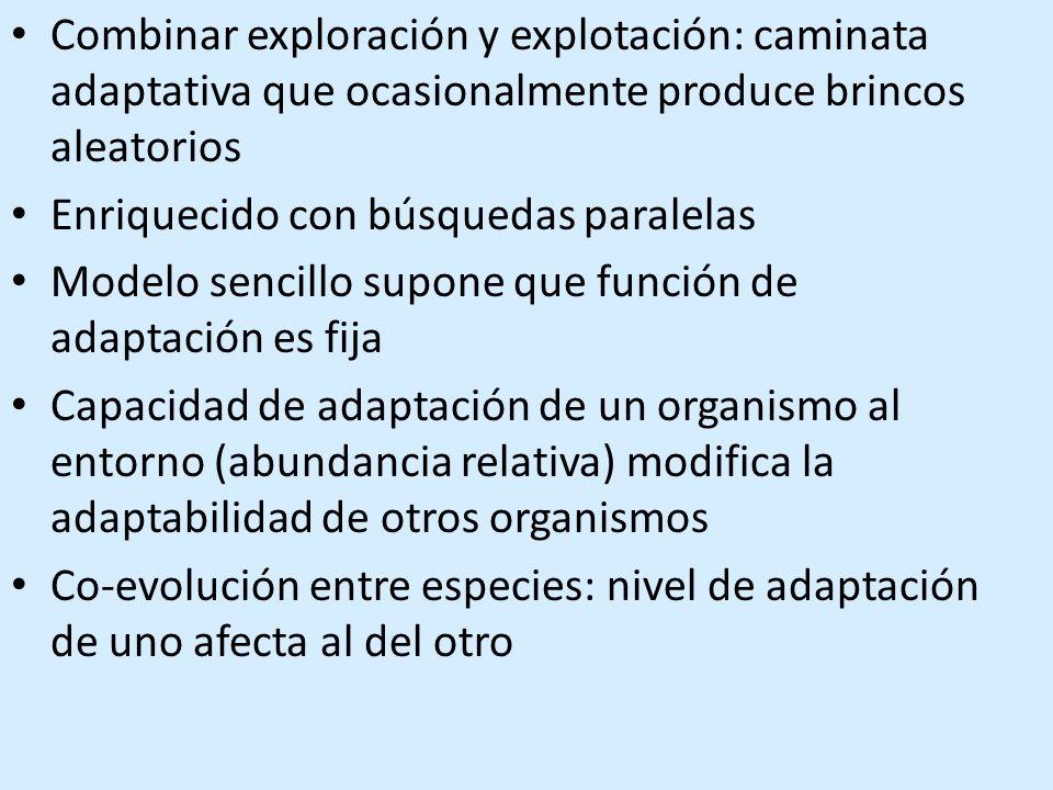 Combinar exploración y explotación: caminata adaptativa que ocasionalmente produce brincos aleatorios Enriquecido con búsquedas paralelas Modelo sencillo supone que función de adaptación es fija Capacidad de adaptación de un organismo al entorno (abundancia relativa) modifica la adaptabilidad de otros organismos Co-evolución entre especies: nivel de adaptación de uno afecta al del otro