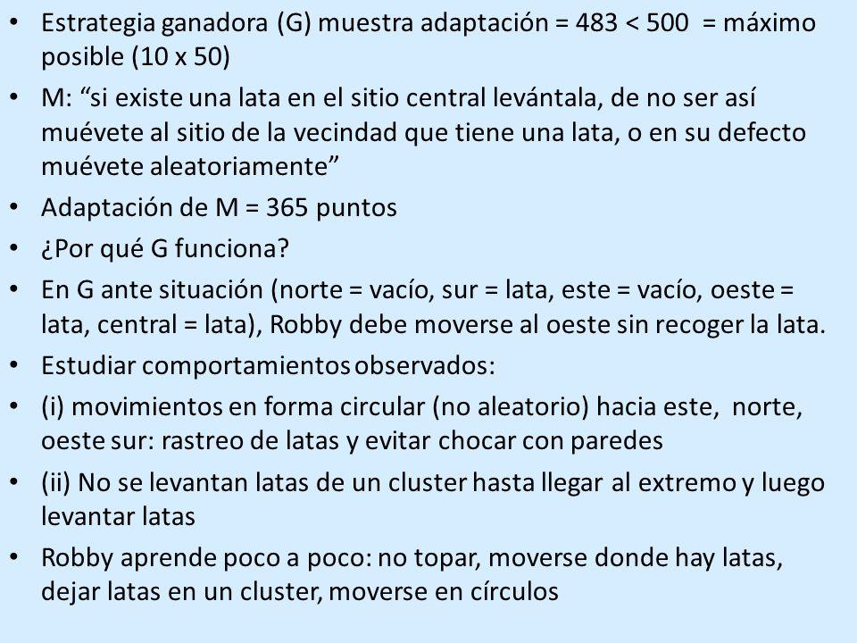 Estrategia ganadora (G) muestra adaptación = 483 < 500 = máximo posible (10 x 50) M: si existe una lata en el sitio central levántala, de no ser así muévete al sitio de la vecindad que tiene una lata, o en su defecto muévete aleatoriamente Adaptación de M = 365 puntos ¿Por qué G funciona.