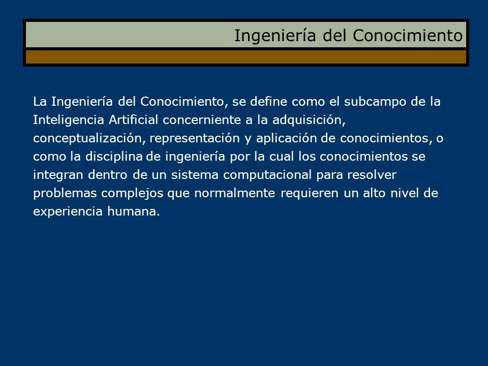Ingeniería del Conocimiento La Ingeniería del Conocimiento, se define como el subcampo de la Inteligencia Artificial concerniente a la adquisición, co
