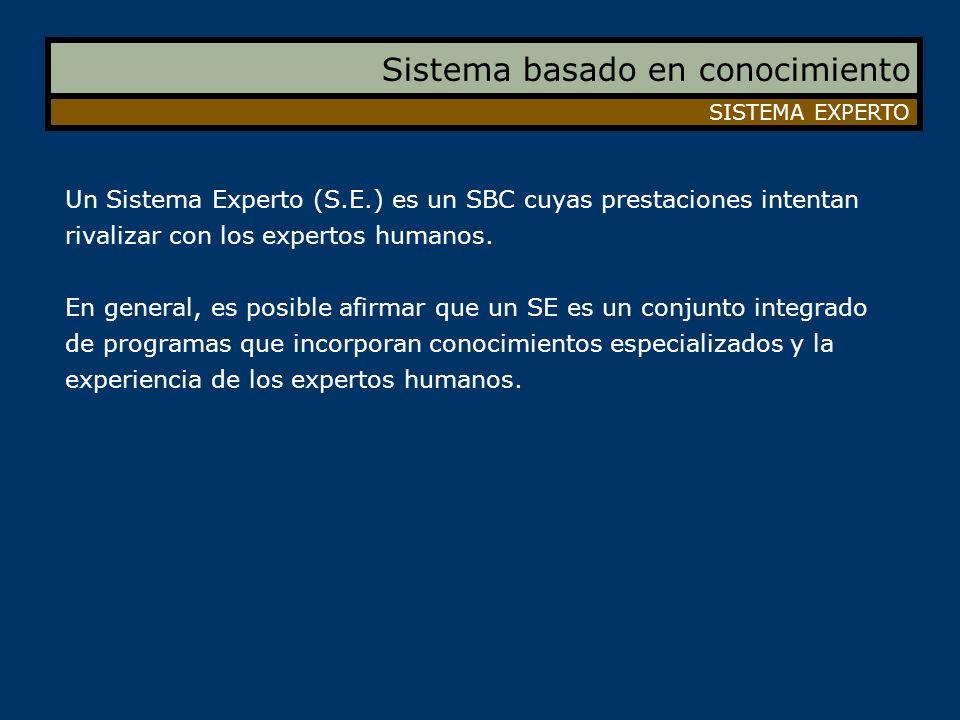 Sistema basado en conocimiento SISTEMA EXPERTO Un Sistema Experto (S.E.) es un SBC cuyas prestaciones intentan rivalizar con los expertos humanos. En
