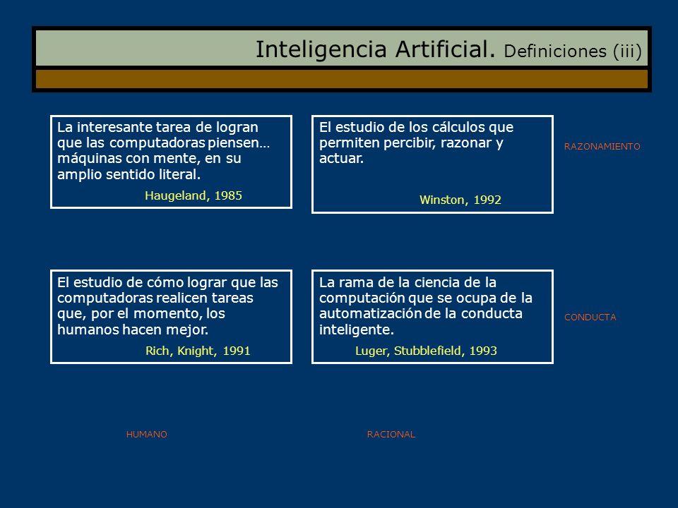 Inteligencia Artificial. Definiciones (iii) La interesante tarea de logran que las computadoras piensen… máquinas con mente, en su amplio sentido lite