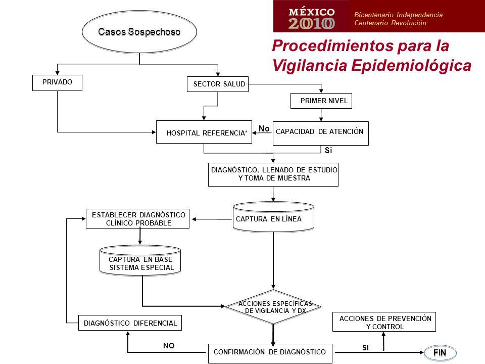 PRIMER NIVEL Casos Sospechoso PRIVADO SECTOR SALUD HOSPITAL REFERENCIA* CAPACIDAD DE ATENCIÓN Si FIN SI NO DIAGNÓSTICO, LLENADO DE ESTUDIO Y TOMA DE MUESTRA CAPTURA EN LÍNEA ESTABLECER DIAGNÓSTICO CLÍNICO PROBABLE CAPTURA EN BASE SISTEMA ESPECIAL ACCIONES ESPECÍFICAS DE VIGILANCIA Y DX ACCIONES DE PREVENCIÓN Y CONTROL CONFIRMACIÓN DE DIAGNÓSTICO DIAGNÓSTICO DIFERENCIAL No Bicentenario Independencia Centenario Revolución Procedimientos para la Vigilancia Epidemiológica