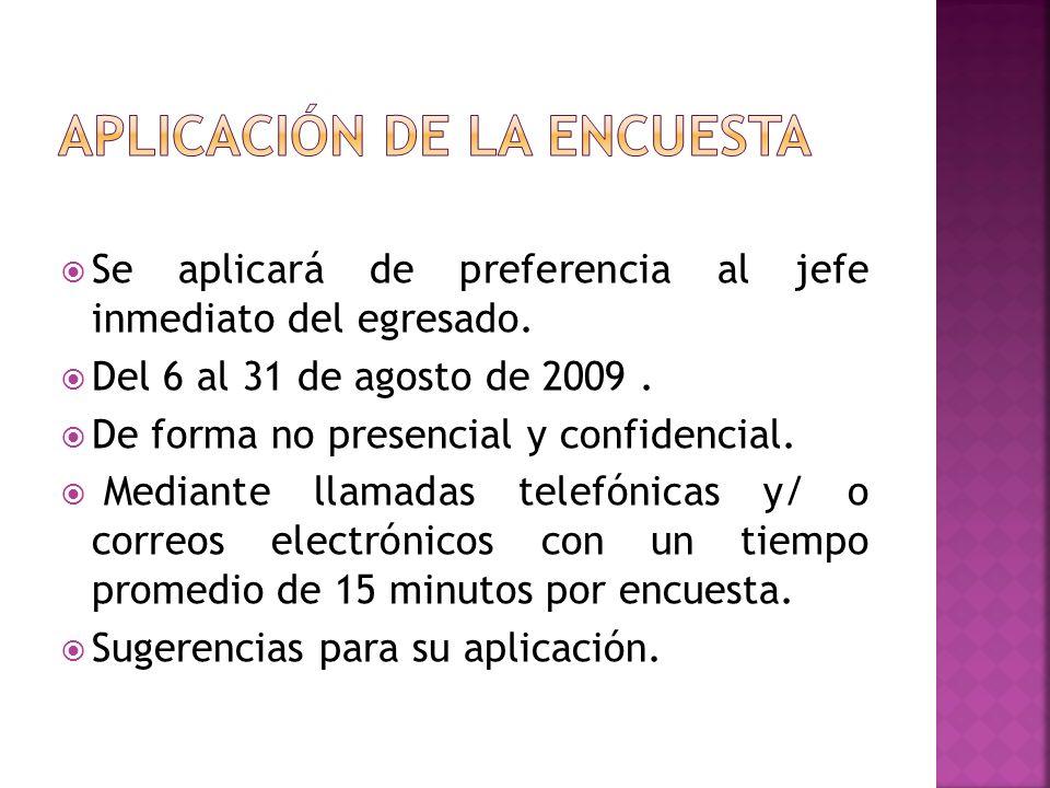 Se aplicará de preferencia al jefe inmediato del egresado. Del 6 al 31 de agosto de 2009. De forma no presencial y confidencial. Mediante llamadas tel