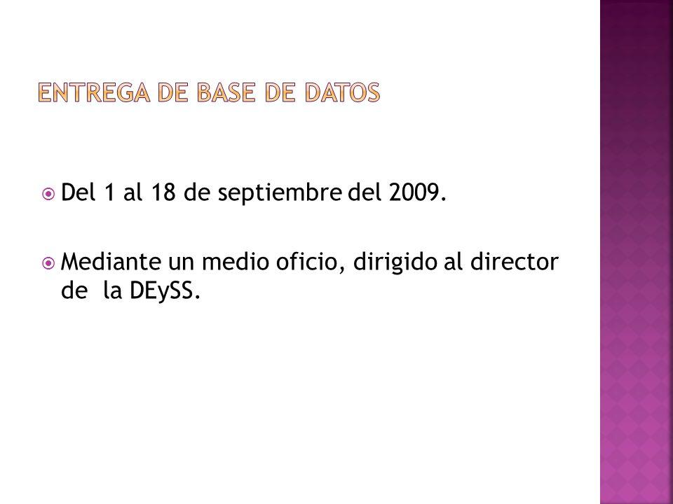 Del 1 al 18 de septiembre del 2009. Mediante un medio oficio, dirigido al director de la DEySS.