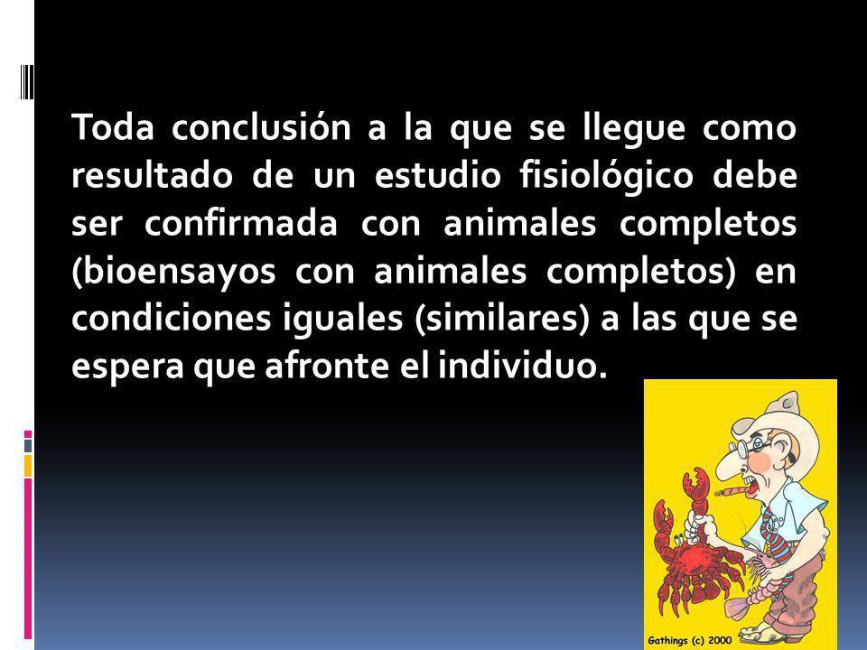 4 Toda conclusión a la que se llegue como resultado de un estudio fisiológico debe ser confirmada con animales completos (bioensayos con animales completos) en condiciones iguales (similares) a las que se espera que afronte el individuo.